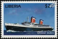 SS UNITED STATES Luxury Ocean Liner / Passenger Cruise Ship Stamp (Liberia)