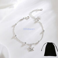 Genuine 925 Sterling Silver Starfish Ball Bracelet Silver Chain Link Adjustable