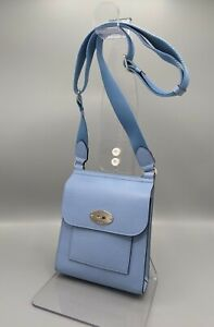 Mulberry Antony Small Messenger Bag in Pale Blue Leather