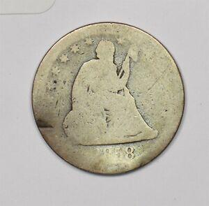 1858 Seated Liberty Quarter 90% silver 103563 *SFCOIN