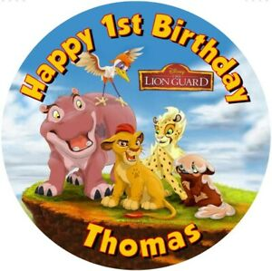 """Lion King lion Guard   7.5"""" , 2"""" , 1.5"""" ROUND EDIBLE ICING PRINTED CAKE TOPPER"""