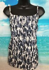 NEW MONSOON 16 Grey Floral Cotton Sleeveless Strappy Cami Vest Top