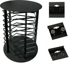 """Rotating 5 Sided Earring Hanging Card Display Stand with 100 Black 1.5"""" Cards"""