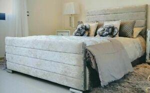 New Silver Crushed Velvet Bed Frame in 3ft, 4ft, 4ft6, 5ft + Free Headboard
