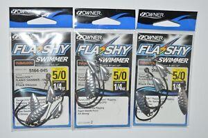 3 packs owner flashy swimmer swimbait hook 5164-045 5/0 1/4oz silver willow leaf