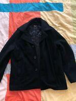 Michael Kors Black Wool Pea Coat Winter Insulated Jacket Men's Size L Large