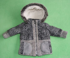 Next grey animal print jacket coat with hood faux fur for girl 12-18 months 86cm