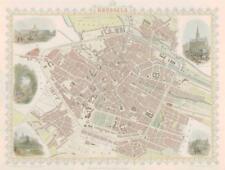 "1851 ORIGINAL ANTIQUE City Map of "" BRUSSELS "" BELGIUM by Tallis & Rapkin"