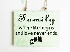 Family Love Never Ends Quote Wall Plaque Home Decor Special Family Gift Idea