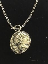 """Athens Diarachm Coin WC72 English Pewter On a 20"""" Silver Plated Chain Necklace"""