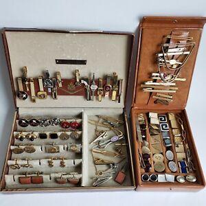 Lot Vtg Cuff Links Tie Bars in Men's Jewelry Boxes Swank 1950s 1960s Mid-Century