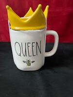 "Rae Dunn ""QUEEN BEE"" Mug.. Yellow Crown Topper  New 2021"