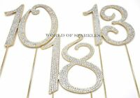 120mm Gold Diamante Cake Pick Topper Sparkly Numbers for Party Anniversary UK