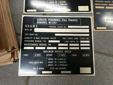 Data Plate, M113A1 Personnel Carrier, 9905-00-299-0777, NOS