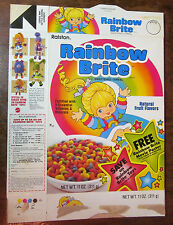 "Rainbow Brite cereal box 1985 1980s ""Free movie poster"" offer/coupon flat - RARE"