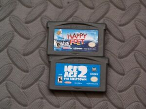 Lot Nintendo Game Boy Advance GBA Games Happy Feet, Ice Age 2: The Meltdown
