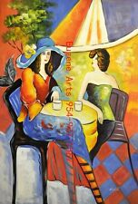 """24x36""""100% hand painted oil flat,Tarkay,Cafe Lady"""