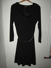 Gok Wan 8 s flare little black Dress pin-up hourglass starlet NEW LBD cowl neck