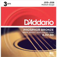 3 Sets EJ17-3D Guitar Strings D'Addario Phosphor Bronze Medium Acoustic 13-56