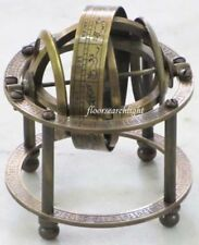 """NAUTICAL COLLECTIBLE SOLID BRASS TABLE TOP ARMILLARY ZODIAC SPHERE GLOBE 3.5"""" Ht"""