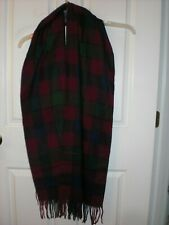 "GEOFFREY BEENE Oversize 72"" X 13"" Made in Italy Plaid Scarf NEW"