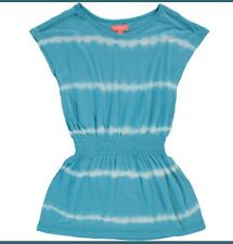Girls Teal Blue & White Tie Dye Dress For 1-2 Year Old