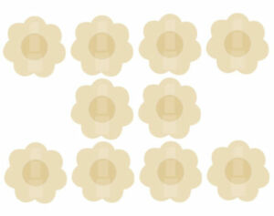 10 x  Stick On NIPPLE COVERS Daisies Pads Stickers Nude Breast Pasties