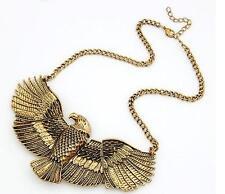 Vintage eagle ancient egypt art deco style gold bronze colour metal necklace