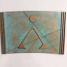 "Patinated Copper/Bronze STARGATE SEGMENT - EARTH GLYPH - Wall Display 10.5 x 15"""