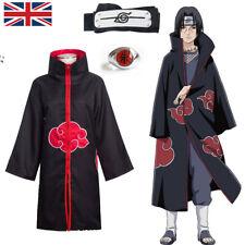 More details for naruto cosplay costume anime akatsuki uchiha itachi ninja cloak kids boys girls