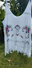 Vintage  cotton top embroidery lagenlook boho magnolia festival gypsy