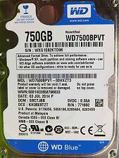 Western Digital 750 GB WD 7500 BPVT - 00hxzt3 DCM: sbctjbb | 03jul2014 disco rigido