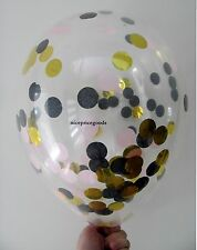 1 CLEAR 12INCH/30CM LT PINK/BLACK/GOLD CONFETTI BALLOON. BABY EVENTS WEDDINGS