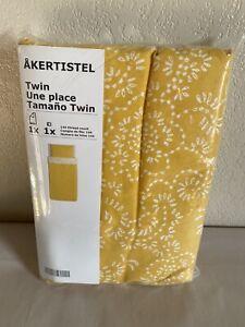 NEW Vtg IKEA AKERTISTEL TWIN Duvet Cover & Two Pillowcases, Yellow & White