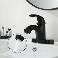 4'' Sink Basin Faucet Black Bathroom Lavatory Vanity Mixer Tap Fit 2 & 3 Holes