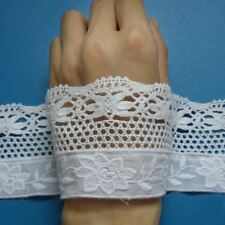 """2-3/8"""" White Venise + Embroidered Flower Cotton Lace Trim-1.5 Yards -T941"""