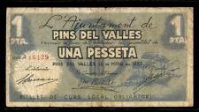 136-INDALO- Pins del Vallés, Barcelona. 1 Peseta Mayo 1937. Sello en seco. MBC-