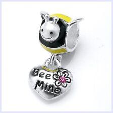 Sterling Silver Honey Bee Mine Pink Love Dangle Bead for European Charm Bracelet