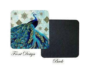 Ethnic Peacock Blue Bird Print PU leather Set of Coasters, Home, Birthday Gift