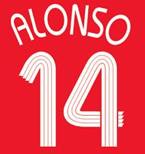 Liverpool Alonso Nameset Shirt Soccer Number Letter Heat Print Football Euro H