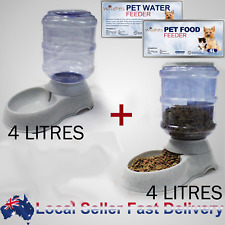 Large Automatic Dog Cat Water & Food Feeder Set Bowl Dispenser Plastic 4.0Liters