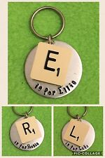 Personalised Keyring. Vintage Scrabble Tile & Hand Stamped Disc.