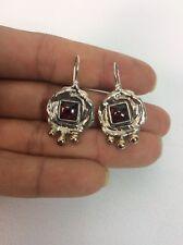 Beautiful Artisan Modernist Sterling Silver 925 14k Pierce  earrings