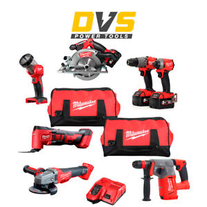 Milwaukee 18V M18 FUEL 7 Piece Kit with 3x 5.0Ah Batteries Charger and 2 Bags