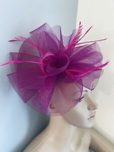 Magenta Purple Hair Clip Fascinator wedding ladies race day hair Accessories