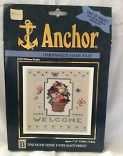 ANCHOR COATS/CLARK Counted Cross Stitch Kit HARDANGER MADE EASY-Welcome Sampler