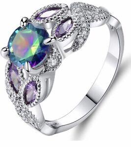 Beautiful Aurora Borealis Rainbow Rhinestone Silver Ring Costume Jewelry Size 9