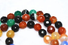 NEW 8mm Faceted Multicolor Agate Gems Round Loose Beads 15""