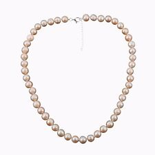 "PINK FRESHWATER PEARL Necklace with 925 Silver Lock and extender 20""+2""  8-9 mm"