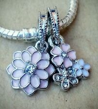 Soft PINK CZ LOTUS & 3 Mixed Enamel Crystal Flowers European Dangle Bead Charms